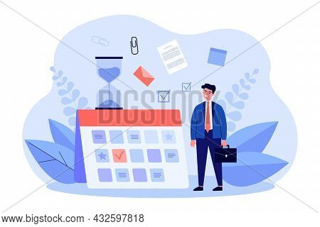 Young Businessman Planning Work Schedule. Flat Vector Illustration. Tiny Man Standing Next To Giant