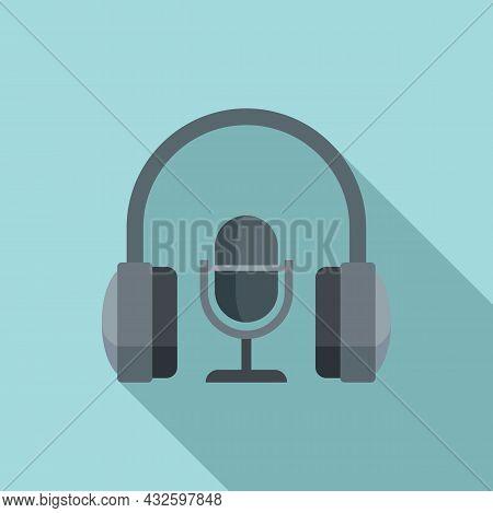 Stream Mic Headphone Icon Flat Vector. Live Video. Online Stream