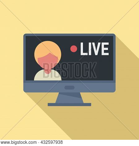 Live Stream Icon Flat Vector. Video Online. Live Air Event