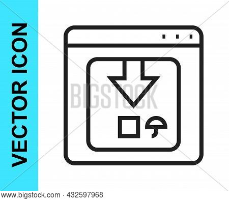Black Line Online App Delivery Tracking Icon Isolated On White Background. Parcel Tracking. Vector
