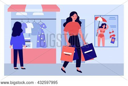 Cartoon Woman With Shopping Bags Walking In Street. Back Of Girl Looking At Clothes Behind Shop Wind