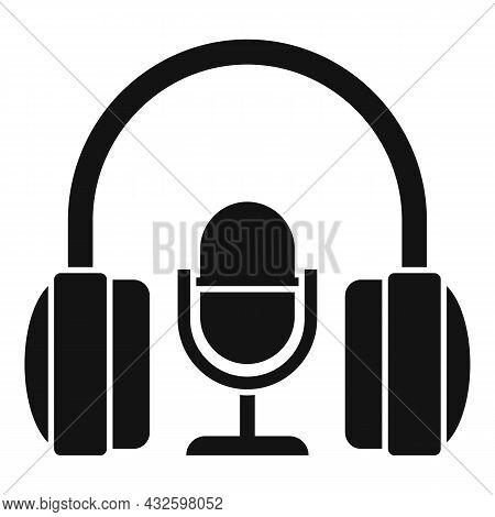 Stream Mic Headphone Icon Simple Vector. Live Video. Online Stream