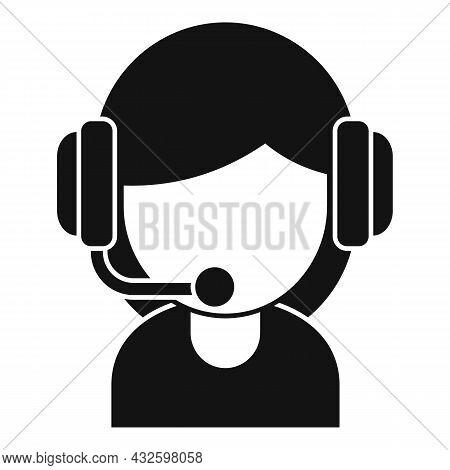 Girl Streamer Icon Simple Vector. Live Stream. Video Online