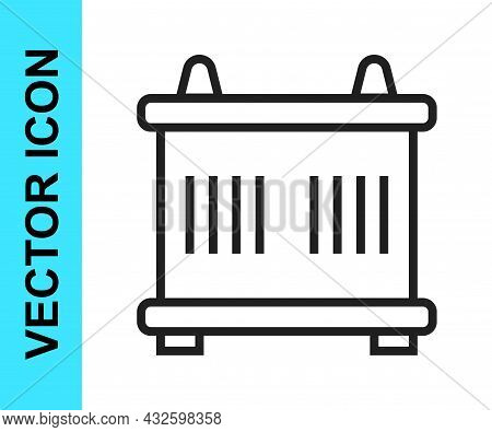 Black Line Container Icon Isolated On White Background. Crane Lifts A Container With Cargo. Vector