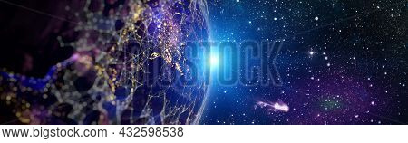 Internet Business , Global World Network And Telecommunication On Earth Cryptocurrency And Blockchai