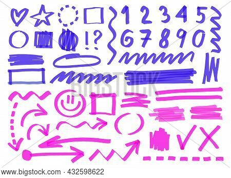 Hand Drawn Marker Lines, Numbers, Symbols. Cartoon Vector Illustration. Set Of Blue And Pink Permane