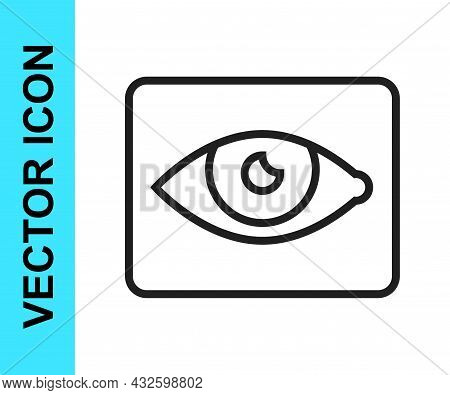 Black Line Red Eye Effect Icon Isolated On White Background. Eye Redness Sign. Inflammatory Disease