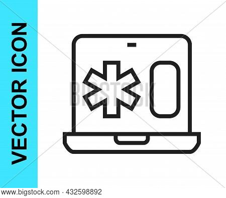 Black Line Medical Clinical Record On Laptop Icon Isolated On White Background. Health Insurance For
