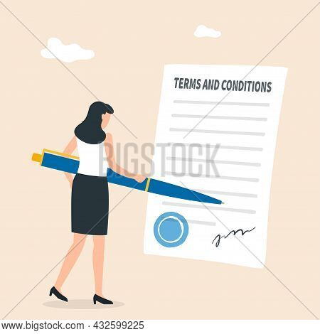 Terms And Conditions, Privacy Policy, Legal Notice Concept. Business Contract Signing. Vector Illust