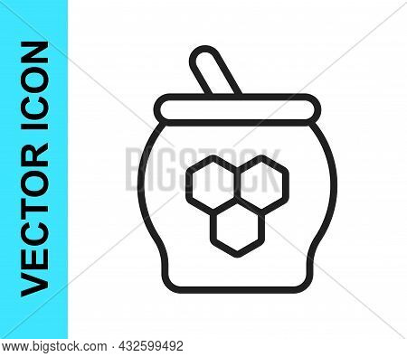 Black Line Jar Of Honey And Honey Dipper Stick Icon Isolated On White Background. Food Bank. Sweet N