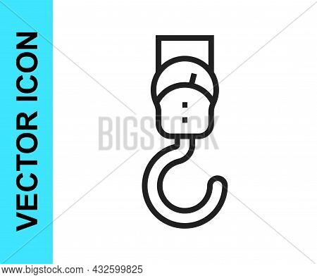 Black Line Spring Scale Icon Isolated On White Background. Balance For Weighing. Determination Of We