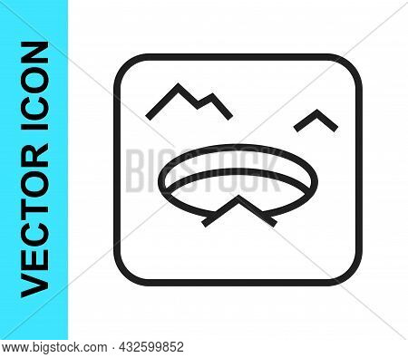 Black Line Winter Fishing Icon Isolated On White Background. Round Ice Frame. Hole In Ice. Vector