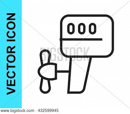 Black Line Outboard Boat Motor Icon Isolated On White Background. Boat Engine. Vector
