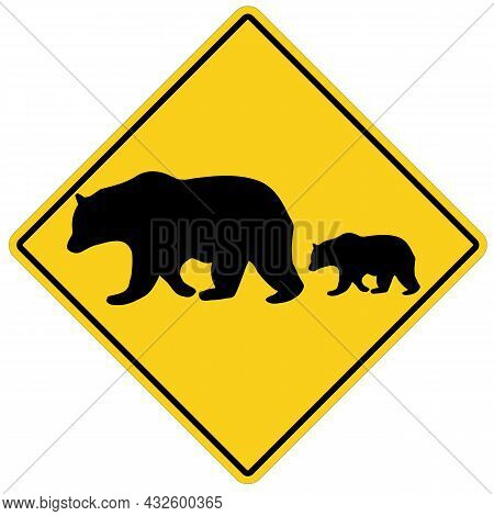 Bear Crossing On White Background. Yellow Road Sign Attention Animal Bear Sign. Bear Warning Symbol.