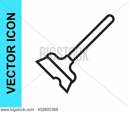 Black Line Mop Icon Isolated On White Background. Cleaning Service Concept. Vector