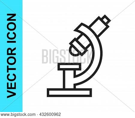 Black Line Microscope Icon Isolated On White Background. Chemistry, Pharmaceutical Instrument, Micro