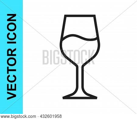 Black Line Wine Glass Icon Isolated On White Background. Wineglass Sign. Vector