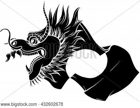 Original Dragon Head. Black And White Vector Illustration.