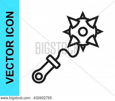 Black Line Medieval Chained Mace Ball Icon Isolated On White Background. Morgenstern Medieval Weapon