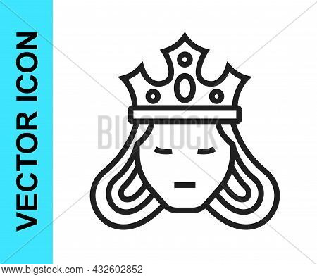 Black Line Princess Or Queen Wearing Her Crown Icon Isolated On White Background. Medieval Lady. Vec