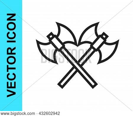 Black Line Crossed Medieval Axes Icon Isolated On White Background. Battle Axe, Executioner Axe. Med
