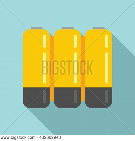 Aaa Battery Icon Flat Vector. Lithium Power. Cell Electric