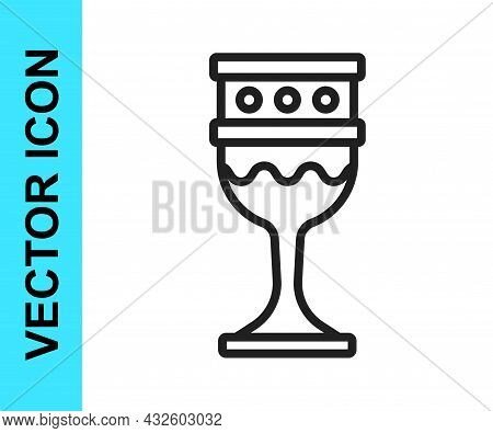 Black Line Medieval Goblet Icon Isolated On White Background. Holy Grail. Vector