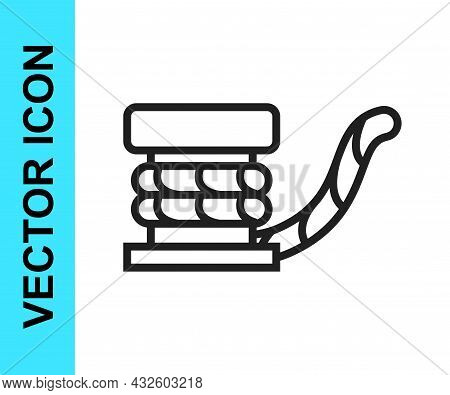Black Line Marine Bollard With Rope Tied On Pier Icon Isolated On White Background. Vector
