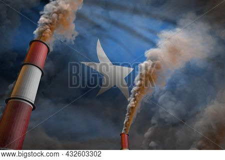 Pollution Fight In Somalia Concept - Industrial 3d Illustration Of Two Large Plant Chimneys With Den