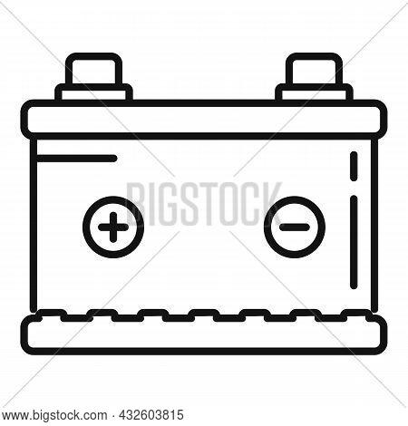 New Car Battery Icon Outline Vector. Full Energy. Accumulator Cell