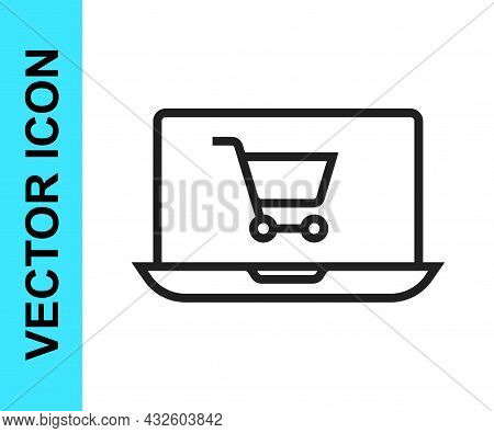 Black Line Shopping Cart On Screen Laptop Icon Isolated On White Background. Concept E-commerce, E-b