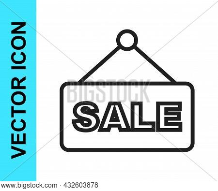 Black Line Hanging Sign With Text Sale Icon Isolated On White Background. Signboard With Text Sale.