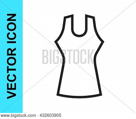 Black Line Woman Dress Icon Isolated On White Background. Clothes Sign. Vector