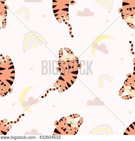 Seamless Pattern With Cute Tigers. Cute Sleeping Animal On A Light Background With Rainbow, Clouds A