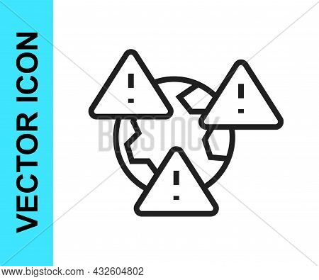 Black Line Planet Earth Symbol With Exclamation Mark Icon Isolated On White Background. Global Earth