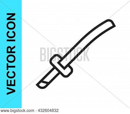 Black Line Traditional Japanese Katana Icon Isolated On White Background. Japanese Sword. Vector