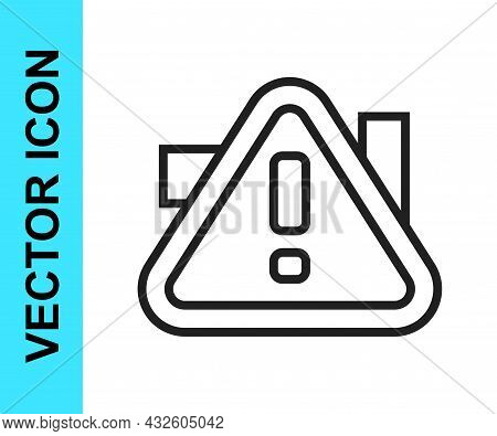 Black Line Exclamation Mark In Triangle Icon Isolated On White Background. Hazard Warning Sign, Care