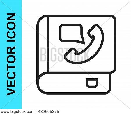 Black Line Phone Book Icon Isolated On White Background. Address Book. Telephone Directory. Vector
