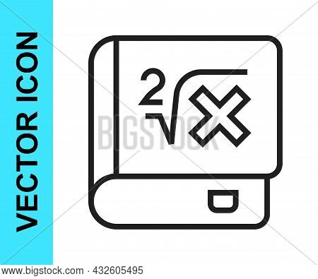 Black Line Book With Word Mathematics Icon Isolated On White Background. Math Book. Education Concep