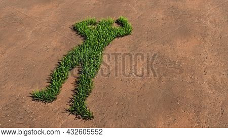 Concept conceptual green summer lawn grass symbol shape on brown soil or earth background, a bodybuilder image. A 3d illustration metaphor for sport, training, athlete, power, strength and nutrition
