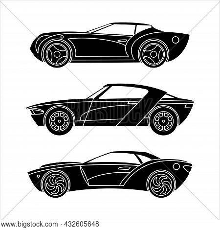 Set Of Sports Cars. Sedan Cars. Black Silhouette Icons. Vector Illustration
