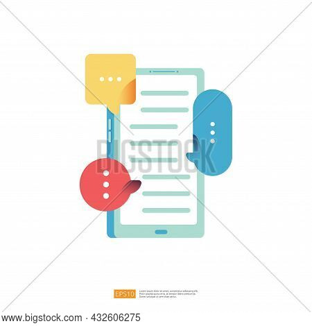 Chat Or Massage Dialog On Mobile Phone Or Smartphone In Flat Style Vector Illustration. Digital Onli