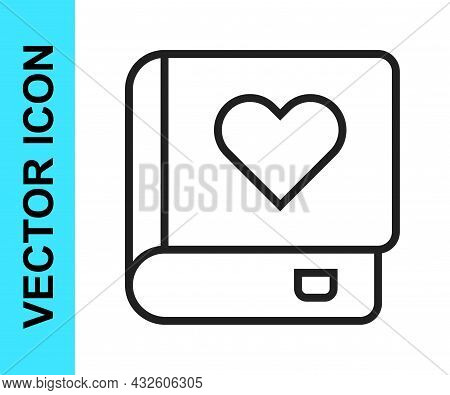 Black Line Romance Book Icon Isolated On White Background. Vector