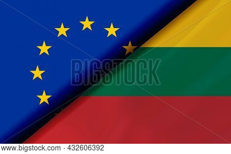 Flags Of The Eu And Lithuania Divided Diagonally. 3d Rendering
