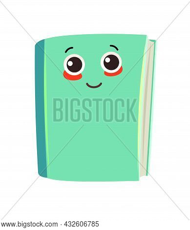 Book Or Notebook. Cheerful Cute Cartoon Character. Childrens Design. With A Face And A Smile. Isolat