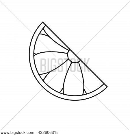 Vector Lemon Icon For Your Projects. Natural Exotic Linear Fruit. Logo Of Tropical Fruit.