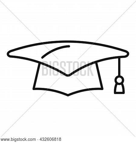 School Graduation Hat Icon Outline Vector. Academy Student. Academic Cap