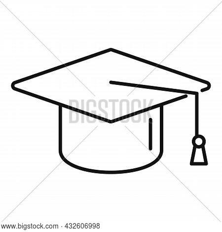 Grad School Hat Icon Outline Vector. College Diploma. Student Graduate
