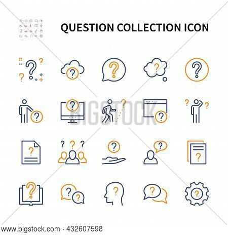 Question Collection Vector Linear Colored Icons Set. Wonder. Isolated Collection Of Question Icon Fo