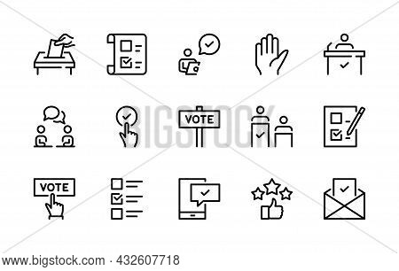 Voting Vector Line Icons. Isolated Icons Collection Election Of Candidates On White Background. Vote
